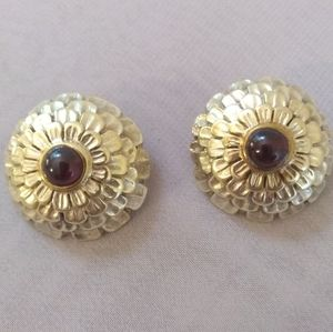 Sterling & Gold Garnet Vintage Earrings